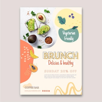 Folleto vertical de delicioso brunch