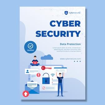 Folleto vertical de seguridad cibernética