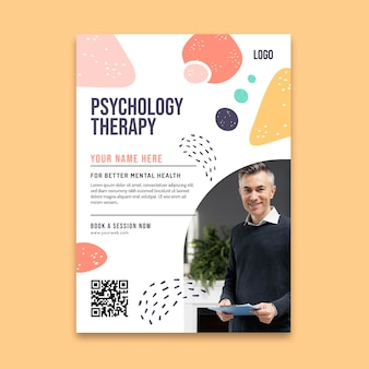Folleto vertical de terapia de psicología.