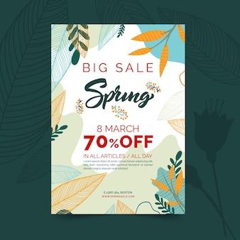 Folleto vertical de venta de primavera plana