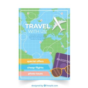 Folleto de viaje con destinos en estilo plano