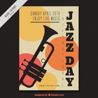 Folleto vintage de jazz con trompeta y círculos