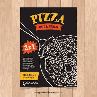 Folleto vintage de pizza dibujada a mano