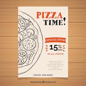 Folleto vintage de pizza con oferta