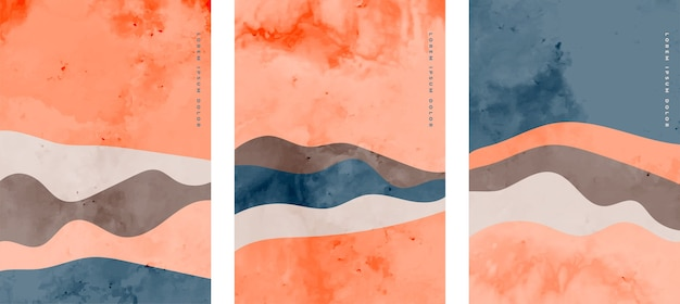 Folletos abstractos minimalistas con formas onduladas