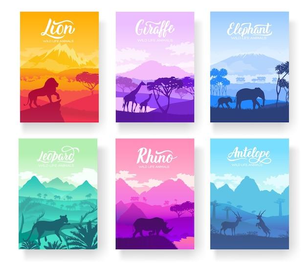 Folletos de animales africanos en hábitat natural. conjunto de volantes con vida silvestre en la puesta del sol del día.
