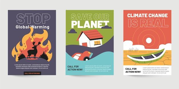 Folletos de cambio climático dibujados a mano