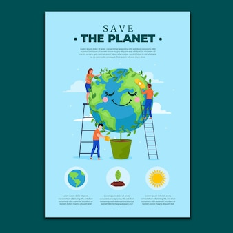 Folletos de cambio climático de diseño plano dibujados a mano
