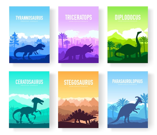 Folletos con un conjunto de coloridos dinosaurios primitivos. plantilla de revistas, carteles, libros, pancartas.
