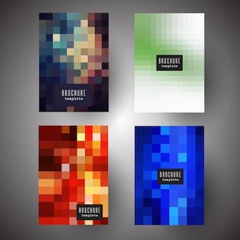 Folletos con diseños abstractos de píxeles