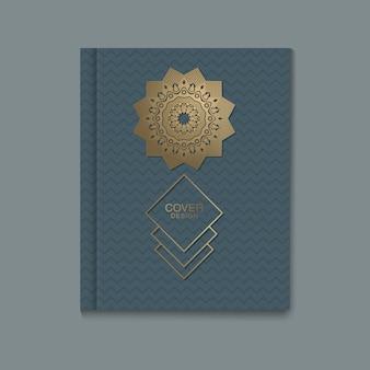 Folletos con emblemas de oro 3d