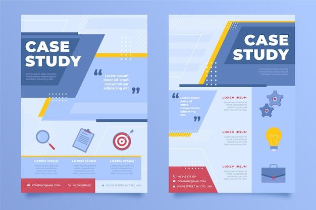 Folletos de estudios de caso planos dibujados a mano
