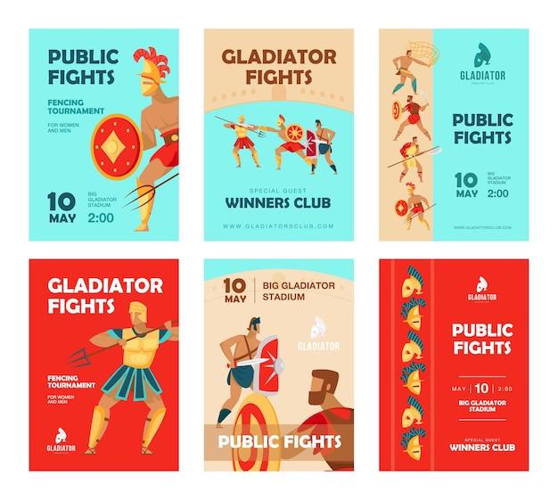 Folletos de eventos con gladiadores peleando.