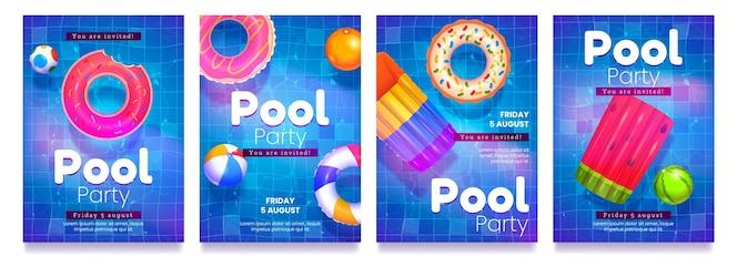 Folletos de fiesta en la piscina de dibujos animados