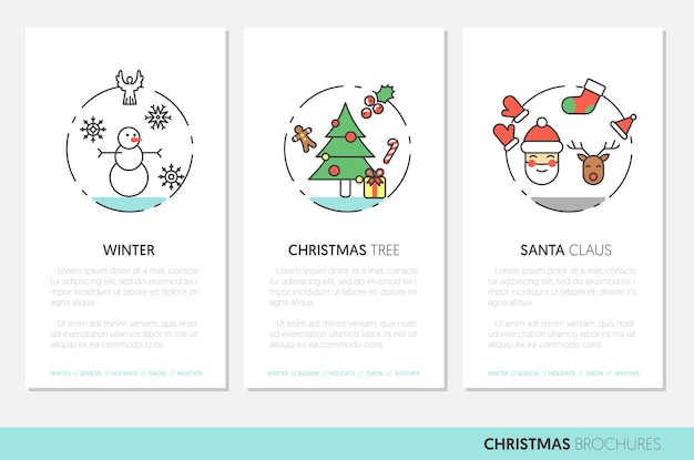 Folletos de líneas finas de feliz navidad con iconos de vacaciones de invierno santa muñeco de nieve y árbol de navidad