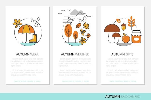 Folletos de negocios de otoño de línea delgada con ropa de otoño clima lluvioso y regalos de la naturaleza. ilustración
