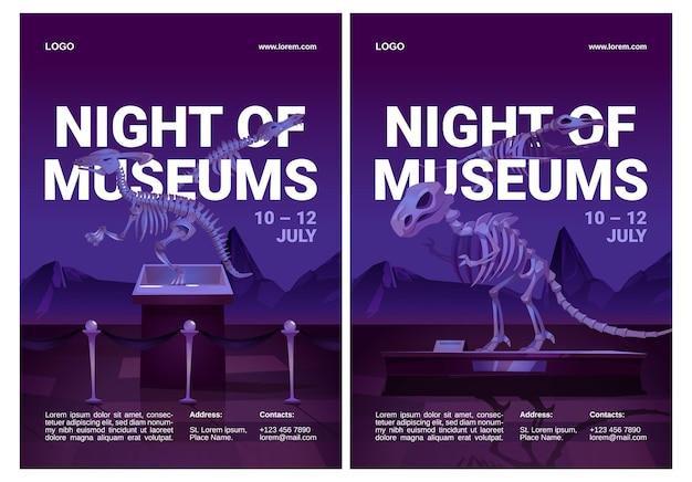 Folletos de la noche de los museos con esqueletos de dinosaurios