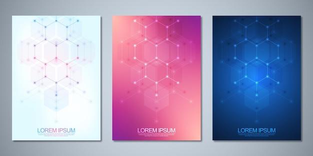 Folletos de plantilla o diseño de portada, libro, volante, con un fondo abstracto de patrón de forma de hexágonos