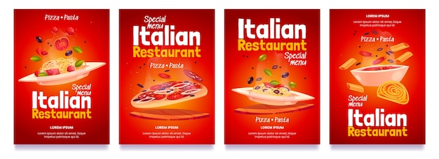 Folletos de restaurante italiano de dibujos animados