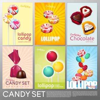 Folletos de tienda de dulces coloridos realistas con productos dulces de chocolate