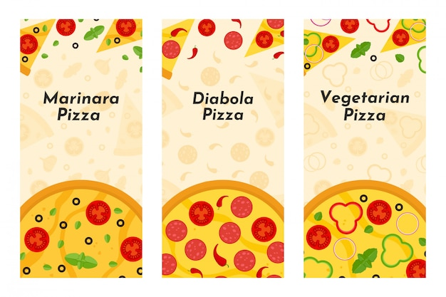 Folletos vector de pizza y pizzería.