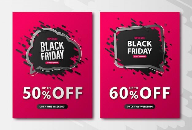 Folletos de venta de viernes negro. carteles de descuento rosa con burbujas de discurso