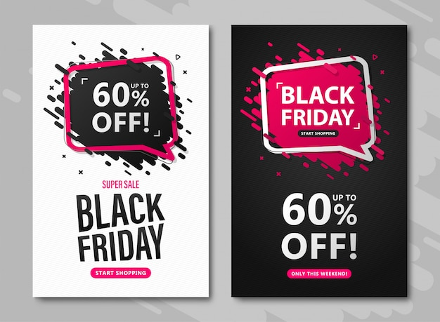 Folletos de venta de viernes negro. conjunto de banners con descuento hasta 60%