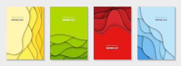 Folletos verticales de vector con corte de papel colorido