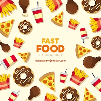 Fonde de comida rápida con diseño plano