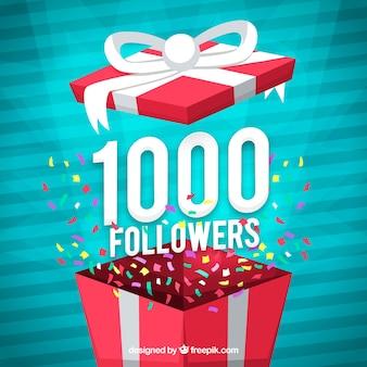 Fondo de 1000 seguidores con diseño de regalo