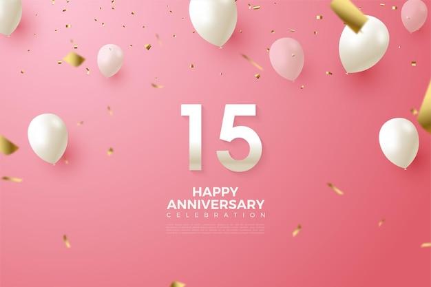 Fondo de 15 aniversario con ilustración de números y globos blancos volando.