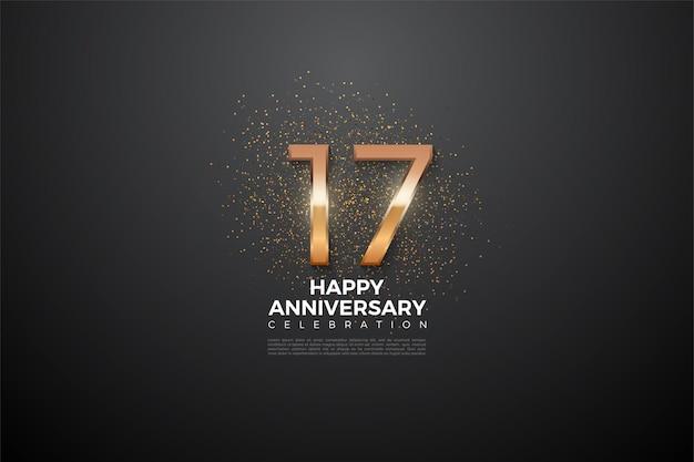 Fondo del 17 aniversario con una ilustración numérica que brilla intensamente en el centro del número.