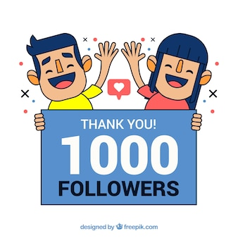Fondo de 1k de seguidores con chicos saludando