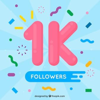 Fondo de 1k de seguidores con confeti en diseño plano
