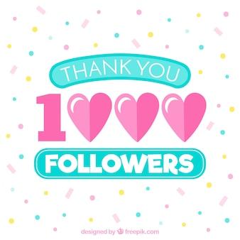 Fondo de 1k de seguidores con corazones y confeti