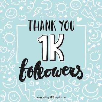 Fondo de 1k de seguidores con dibujos