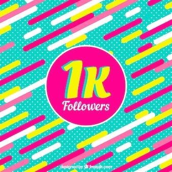 Fondo de 1k de seguidores con formas de colores en diseño plano