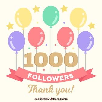 Fondo de 1k de seguidores con globos de colores