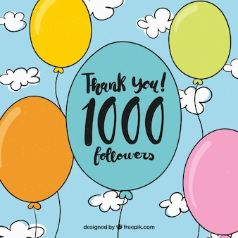 Fondo de 1k de seguidores con globos dibujados a mano