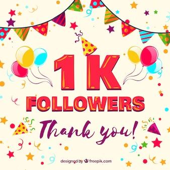 Fondo de 1k seguidores con globos