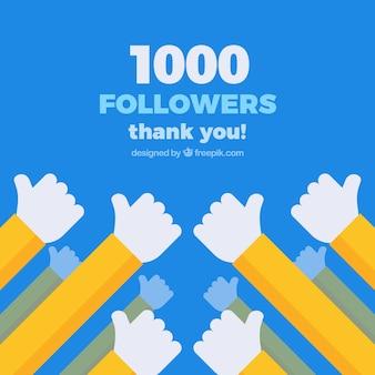 Fondo de 1k de seguidores con manos en diseño plano