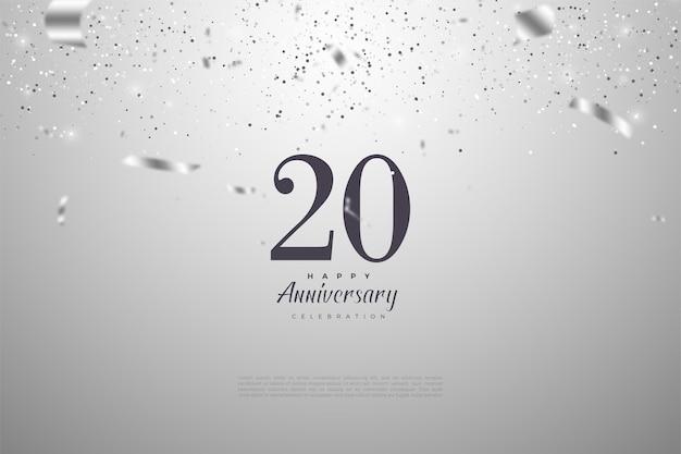 Fondo del 20 aniversario con ilustración de caída de papel plateado en el fondo