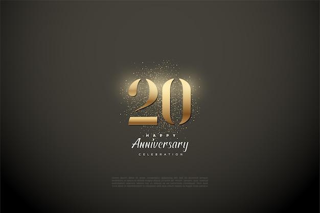 Fondo del 20 aniversario con ilustración de gradaciones de números dorados brillantes