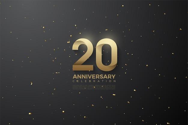 Fondo del 20 aniversario con ilustración de números sobre el espacio exterior
