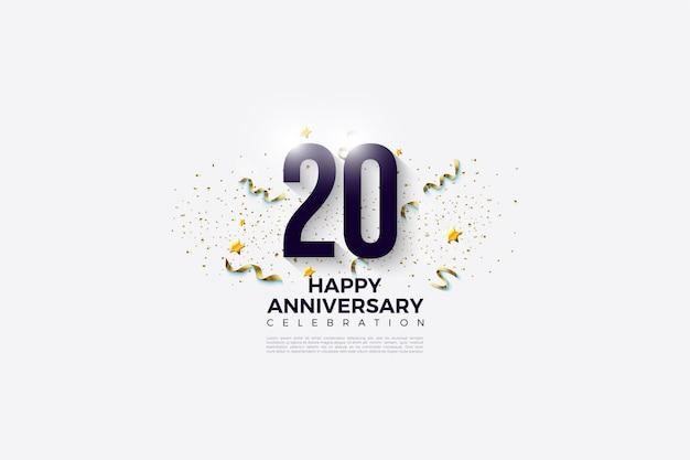 Fondo del 20 aniversario con números negros y manchas doradas.