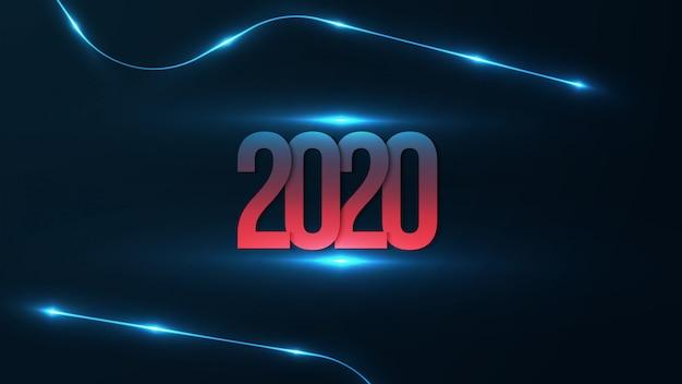 Fondo 2020 con brillante futurista. feliz año nuevo con degradado rojo y azul en el número 2020.
