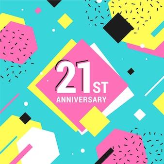 Fondo de 21 aniversario con formas geométricas.