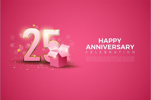 Fondo del 25 aniversario con una ilustración de números al lado de una caja de regalo.