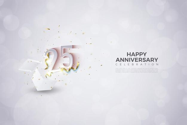 Fondo del 25 aniversario con la ilustración de los números que salen de una caja de regalo.
