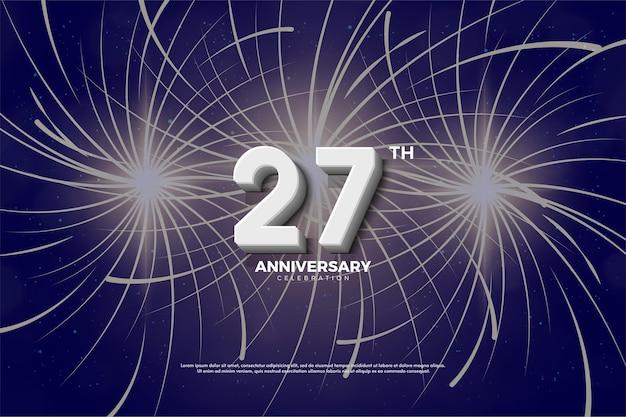 Fondo de 27 aniversario con ilustración de números y fuegos artificiales.